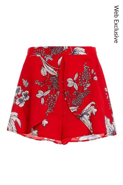 Red and White Floral Shorts